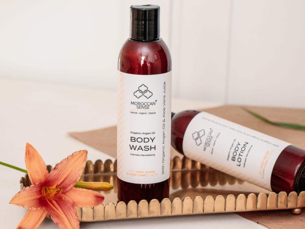 Recenze Body Wash a Body Lotion Moroccan Sense s pomerančem a ylang-ylang.