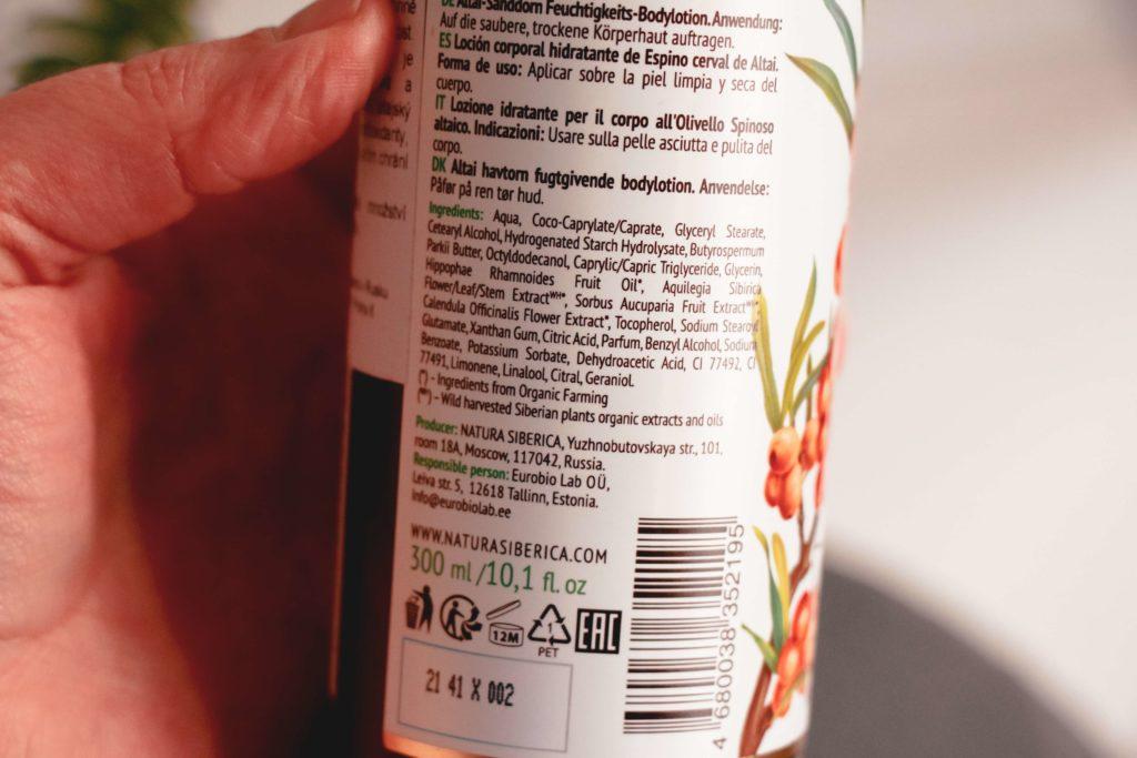Recenze tělového mléka Flora Siberica s rakytníkovým olejem od Natura Siberica.