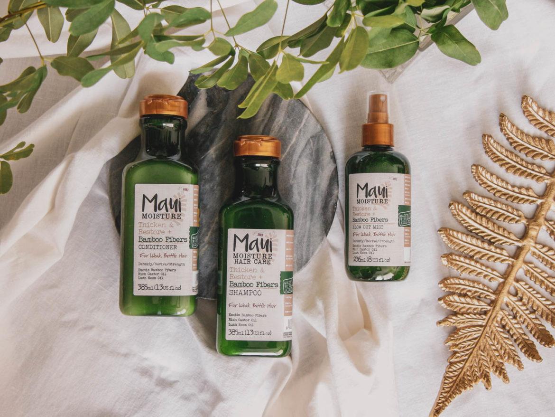 Recenze vlasové kosmetiky pro jemné vlasy Thicken & Restore od Maui Moisture.